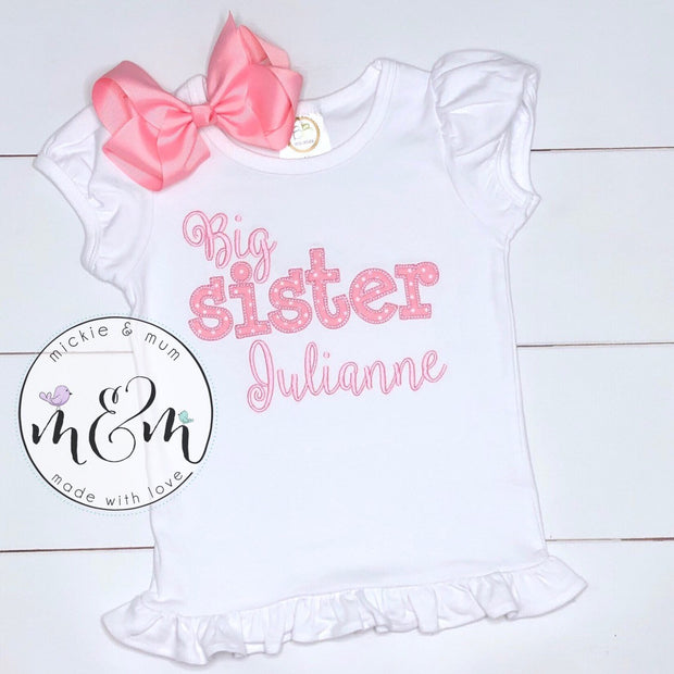 Little Brother and Big Sister Shirt Set - Baby Boy Outfit - Mickie and Mum Personalized Baby Outfits