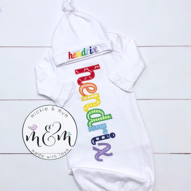 Little Sister Outfit - Welcome Home Outfit - Coming Home Outfit - Rainbow Baby - Mickie and Mum Personalized Baby Outfits