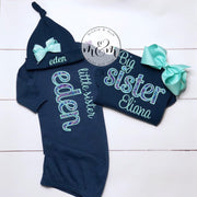 Big Sister and Little Sister Shirt Set - Big Sister Little Sister - Coming Home Outfit - Newborn Girl Outfit - Mickie and Mum Personalized Baby Outfits