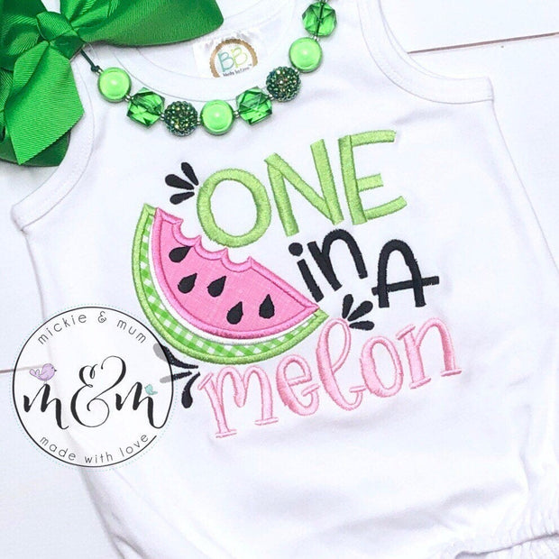 First Birthday Romper - 1st Birthday Shirt - One in a Melon Birthday - First Birthday Shirt - Smash Cake Shirt - Mickie and Mum Personalized Baby Outfits