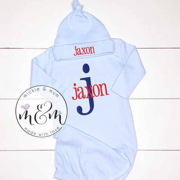 Baby Boy Outfit - Baby Boy Hospital Outfit - Hello World Outfit - Coming Home Outfit | Newborn Boy Outfit - Mickie and Mum Personalized Baby Outfits