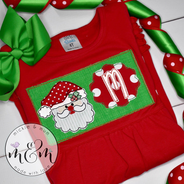 Christmas Dress, Christmas Santa Shirt, Santa Christmas Dress, Christmas Shirt For Girls - Mickie and Mum Personalized Baby Outfits