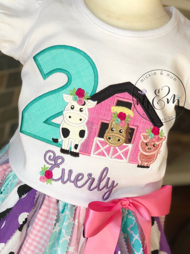 Moo Moo and TuTus Outfit | Cow Birthday Shirt | Two Year Old Birthday Shirt | Second Birthday Shirt | Birthday Outfit Girl | Farm Birthday - Mickie and Mum Personalized Baby Outfits