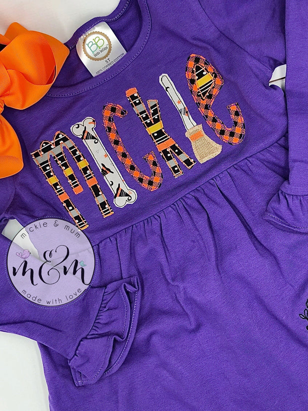 Halloween Dress - Halloween outfit for girl - Pumpkin patch outfit - Fall dress for girl - Mickie and Mum Personalized Baby Outfits