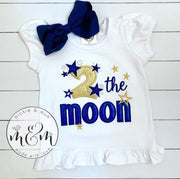 Second Birthday Shirt | Girl Birthday Shirt | Second Birthday Girl Shirt - 2 the Moon Birthday Shirt - Mickie and Mum Personalized Baby Outfits
