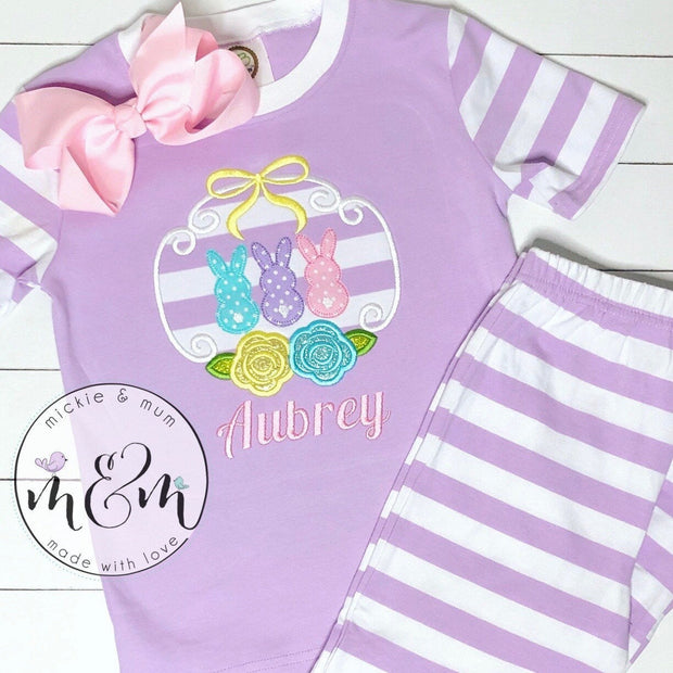 Spring Pajamas | Easter Pajamas | Bunny Pajamas | PJs | Spring PJs | Pajamas for Kids | Gifts for kids | Custom Pajamas | Summer Pajamas - Mickie and Mum Personalized Baby Outfits