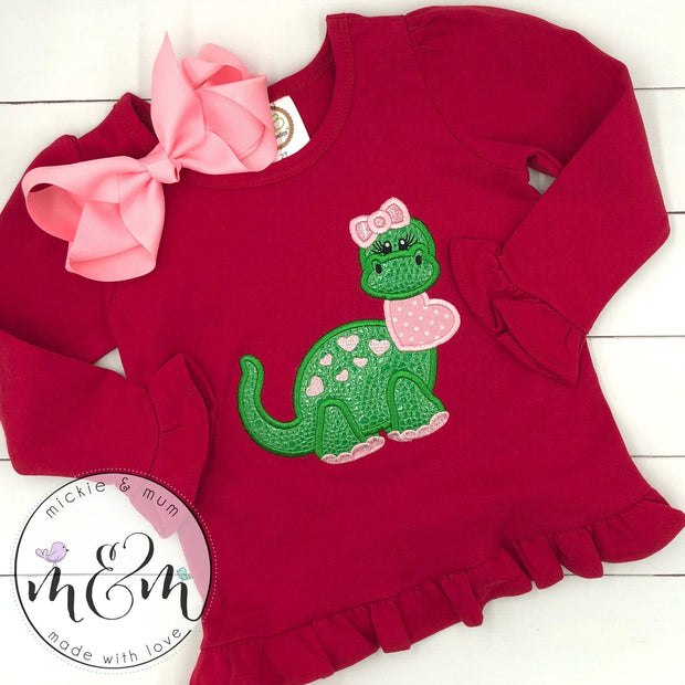 Valentine's Day Shirt for Girl - Dinosaur Valentine Shirt - Girl Dinosaur Valentine Shirt - Mickie and Mum Personalized Baby Outfits