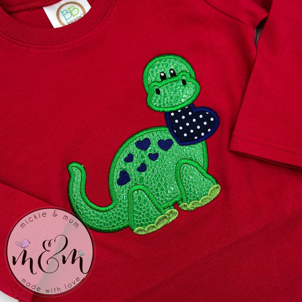 Dinosaur Valentine's Shirt - Valentine's Day Shirt for Boys - Dinosaur Shirt - Mickie and Mum Personalized Baby Outfits