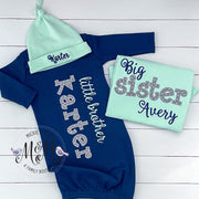Little brother and Big Sister Set - Mint and Navy Baby Clothes - Mickie & Mum