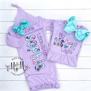 Big Sister and Little Sister Set - Little Sister Layette - Coming Home Outfit for Girl - Big Sister Dress