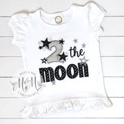 Second Birthday Shirt - 2 the Moon Birthday Shirt - Mickie and Mum Personalized Baby Outfits