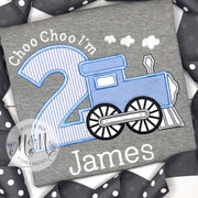Train Birthday Boy Shirt - Train Birthday Shirt - Choo Choo I'm Two