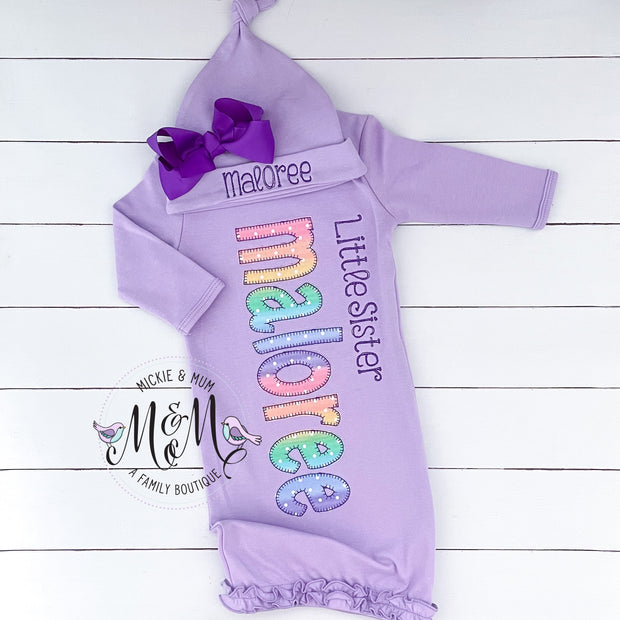 Little Sister Set - Little Sister Layette - Coming Home Outfit for Girl