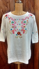 Eucalyptus Embroidered  Blouse with Elbow Sleeves