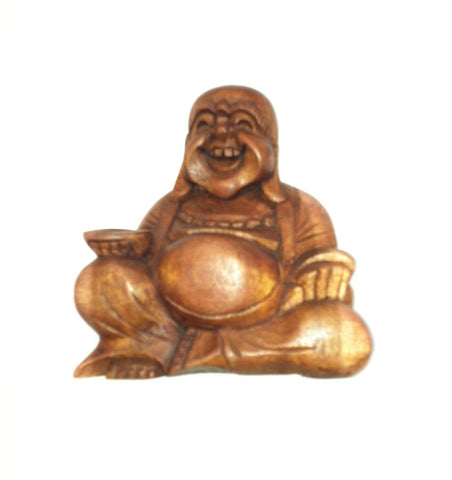 Wood Buddha Happy