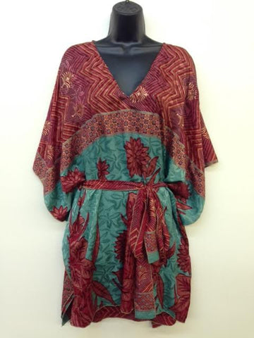 Silk Poncho Top with Belt