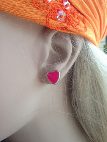 Earrings-Heart Enamel Studs