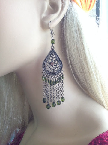 Earrings-Chandelier With Beads