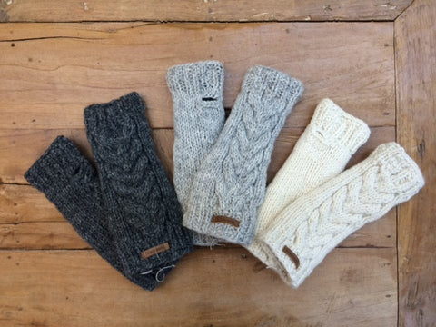 Wool cable knit arm warmer