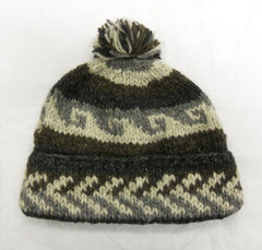 100% Wool Fleece Lined Hat With Ball