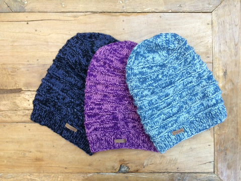 Wool Long Ribbed Slouch Hat