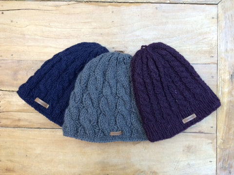 Wool Cable Knit Cap