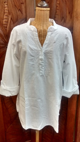 Simply White Embroidered Tab-Sleeve Tunic