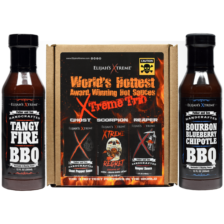 spicy bbq, hot sauce, hot sauce gift set, spicy gift set, elijahs xtreme, regret, hot ones, regret hot sauce, truff, sauce, condiments,