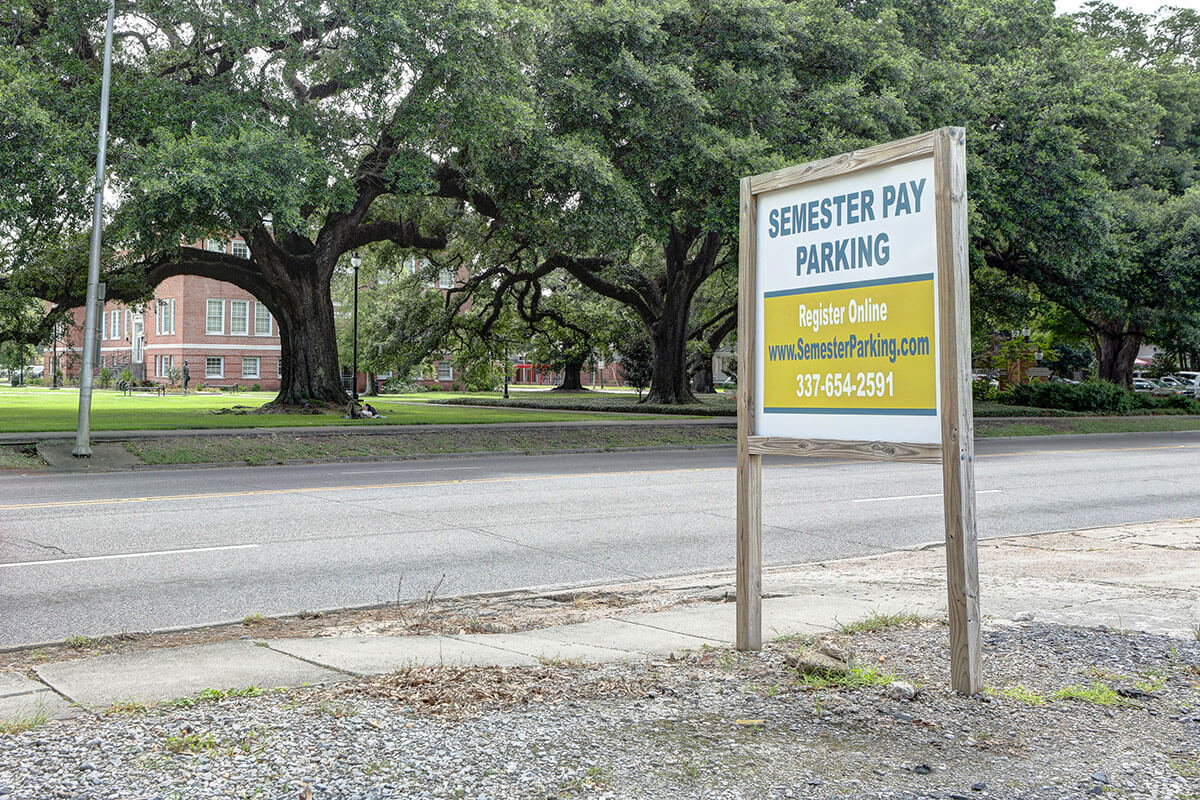 Parking lot spots at 117 East University avenue for UL Lafayette campus