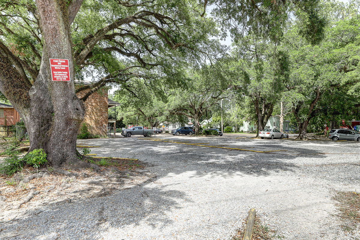 Parking lot spots at 341 East University avenue for UL Lafayette campus