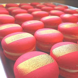 gold and red macaron
