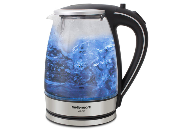 Mellerware - Kettle 360 Degree Cordless Glass Silver 1.8L 2200W Azure (22300B)