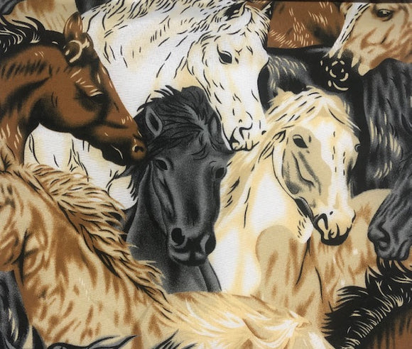 Printed Polycotton, Horse Print - Various Colours - 115cm