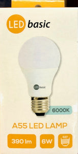 LED A55 LED Lamp - 6W - Frosted White - Twist Cap - (E27-6W-390lm)