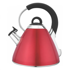 Snappy Chef - 2.2L Stainless Steel Retro Whistling Kettle (Red, Silver)