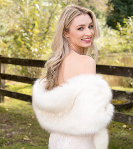 Bridal Long Hair Faux Fur - White