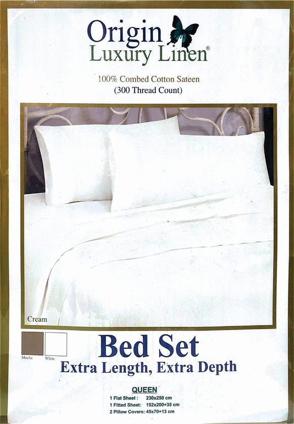 Origin Luxury Linen - 300 Thread Count, 100% Combed Cotton Percale Bed Set - Various Sizes & Colours