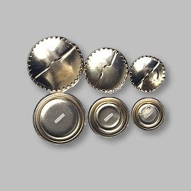 Solid Poppas Cover Buttons - Silver - 15mm,19mm,22mm,29mm,38mm