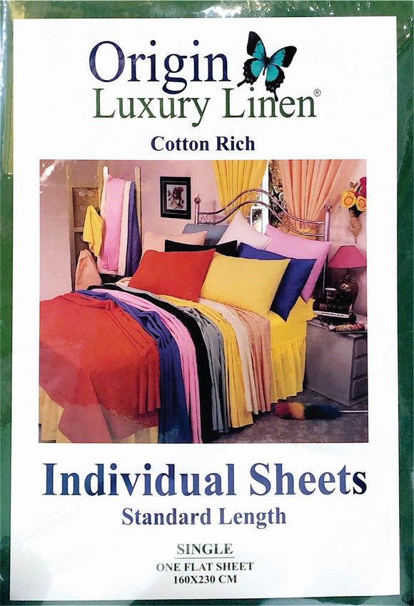 Origin Luxury Linen - Individual Flat Sheets (Cotton Rich) - Various Sizes & Colours