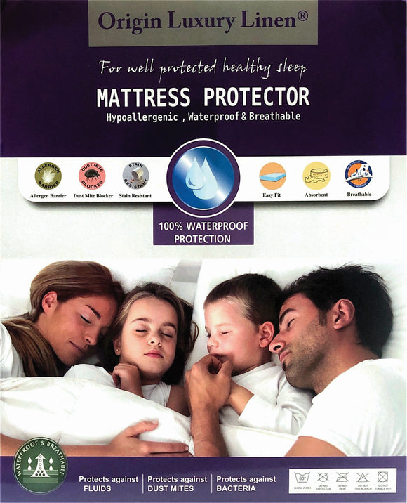 Origin Luxury Linen - Waterproof Mattress Protector - Various Sizes
