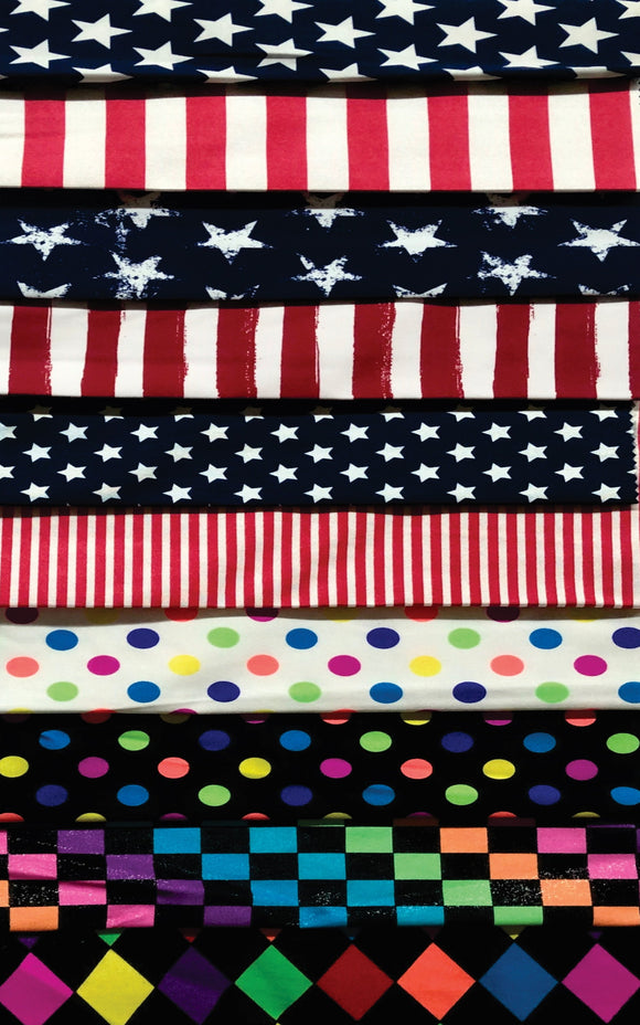 Printed Lycra (Nylon) - Stars and Stripes Designs - 150cm