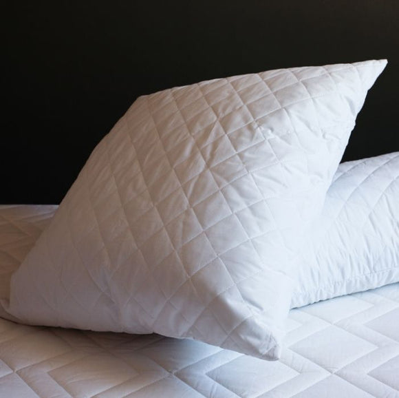 Alicia Quilted Continental Pillow - White