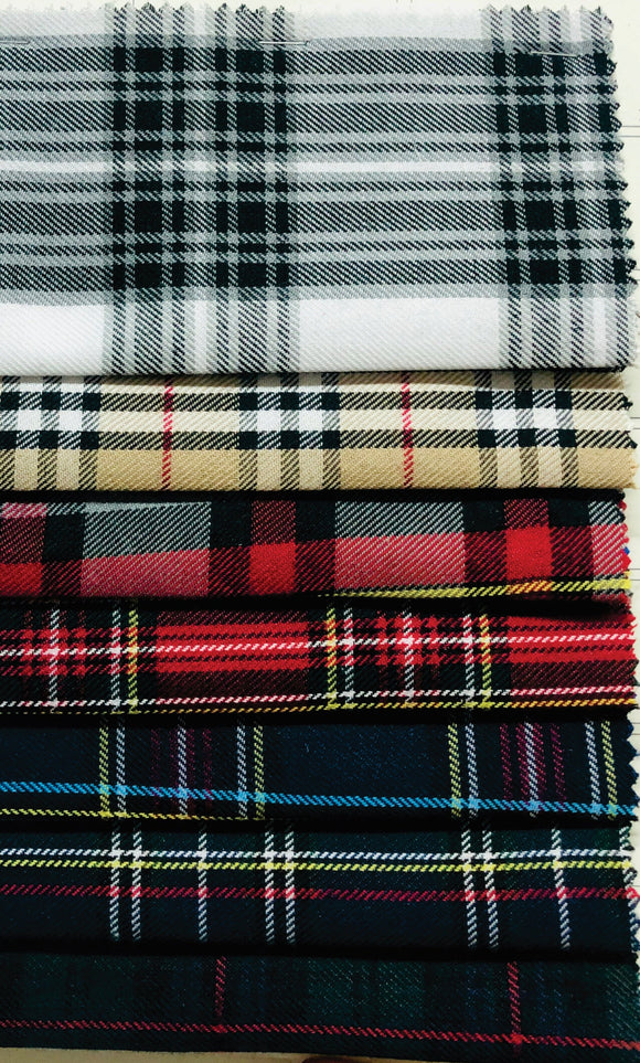 Tartan Check (Scottish Print) - Various Colours - 150cm