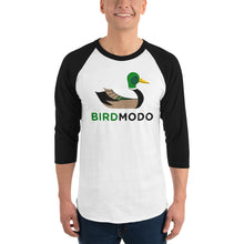 "Load image into Gallery viewer, ""Birdmodo"" 3/4 sleeve Baseball T-shirt"