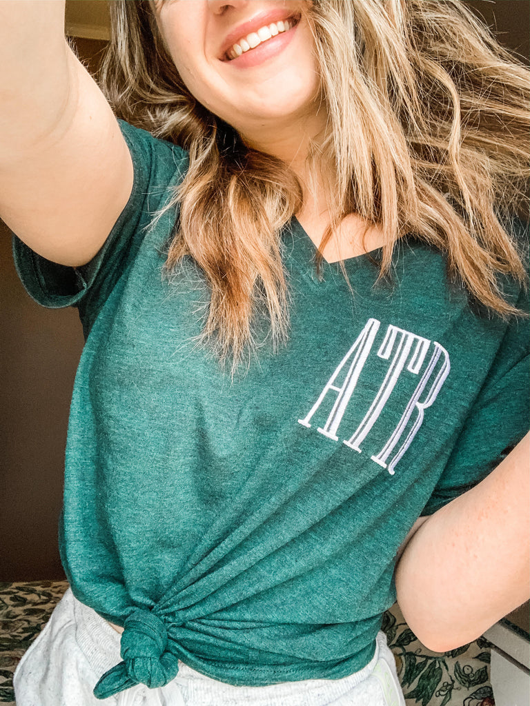 Bella Canvas Teal V neck t shirt with embroidered monogram
