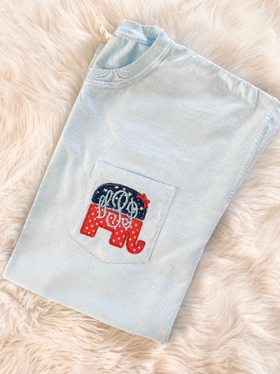 republican elephant applique embroidered monogram comfort colors pocket t shirt and tank top