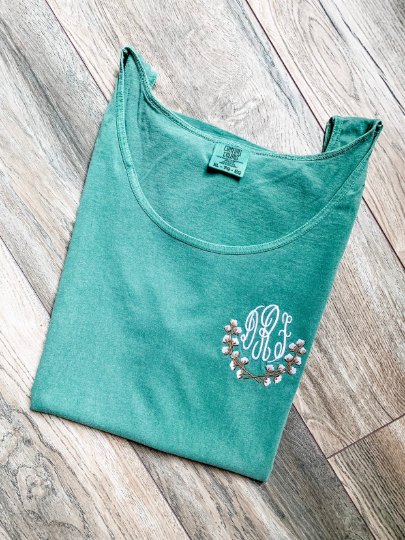 Comfort Colors emerald green unisex tank top with embroidered cotton vine monogram and monogram frame