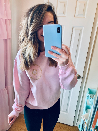 gildan light pink sweatshirt pullover with embroidered donut monogram frame