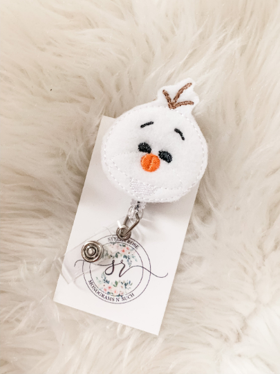 frozen snowman stitched embroidered white badge reel