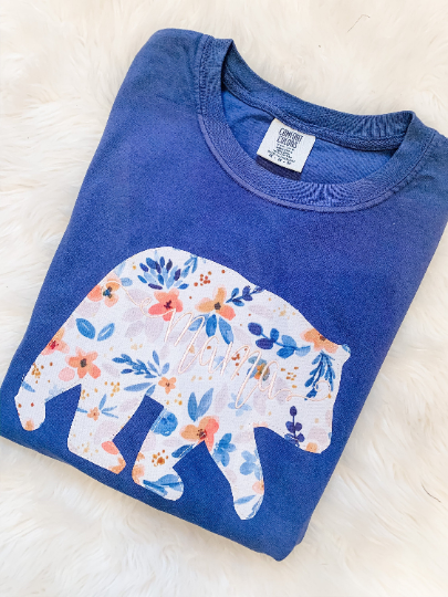 mama bear embroidered floral applique comfort colors short sleeve long sleeve t shirt tank top